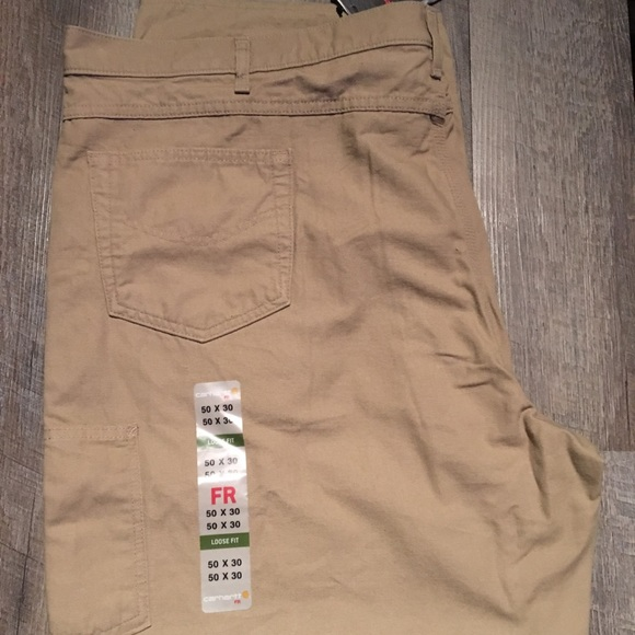 cute sale free shipping New Carhartt FR 50X30 Khaki Jean Pants. Big & Tall